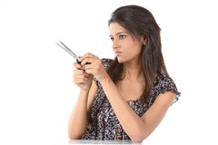 indian woman with scissor Stock Photos
