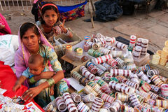 Indian woman selling bangels at Sadar Market, Jodhpur, India Royalty Free Stock Images