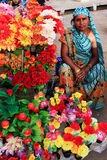 Indian woman selling flowers, Sadar Market, Jodhpur, India Royalty Free Stock Images