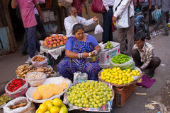 Indian woman selling fruits and vegetables in the street of Delh Royalty Free Stock Photo