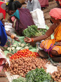 Indian woman selling potatoes Stock Photo