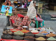 Indian woman selling spices at Charminar, Hyderabad Royalty Free Stock Photos