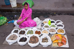 Indian woman selling spices and grains in the street of Delhi, I Stock Photography