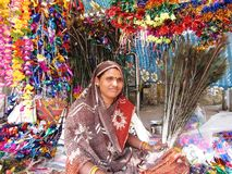 Indian woman shopkeeper Royalty Free Stock Image