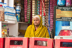 Indian woman shopkeeper Stock Images