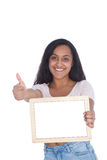 Indian Woman Showing Empty Board and Thumbs Up Stock Photography