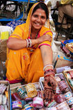 Indian woman showing henna painting, Sadar Market, Jodhpur, Indi Royalty Free Stock Photo