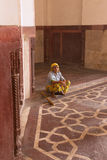 Indian woman sitting inside Humayun's Tomb, Delhi, India Stock Photo
