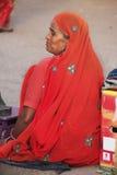 Indian woman sittingat the market, Old town of Bundi, India Stock Photography
