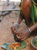 Indian woman slices chilis Royalty Free Stock Photo