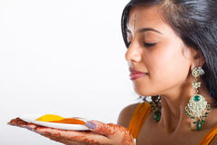 Indian woman smell spices Royalty Free Stock Image