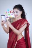 Indian woman with social media icon Stock Photos