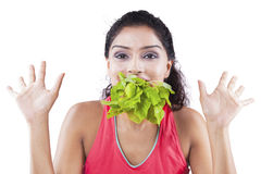 Indian woman with spinach on her mouth Stock Images