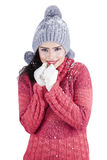 Indian woman with sweater feeling cold Stock Photography