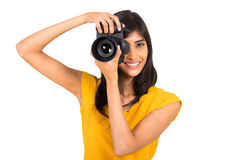 Indian woman taking pictures Royalty Free Stock Images
