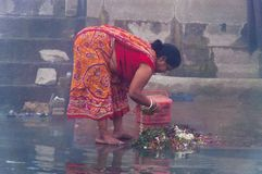 Indian woman taking ritual bath in the river Ganges at cold foggy winter morning. Varanasi Royalty Free Stock Images