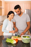 Indian woman teaching husband. Pretty indian women teaching husband cutting vegetables in home kitchen royalty free stock photos