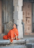 Indian woman in temple Royalty Free Stock Image
