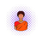 Indian woman in traditional Indian sari icon. In comics style on a white background Royalty Free Stock Photography