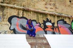 Indian woman in traditional sari at Varanasi Royalty Free Stock Photos