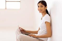 Indian woman using laptop Stock Image