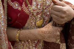 Indian woman. Varanasi - India - traditional tattoos on hands royalty free stock image