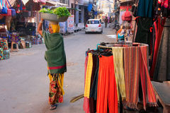 Indian woman walking in the street, Pushkar, India Stock Images