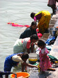 Indian Woman Washing Clothes Royalty Free Stock Images