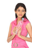 Indian woman with water bottle stock photography