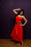 Indian Woman Wearing Beautiful Flowing Sleeveless Dress Stock Photo