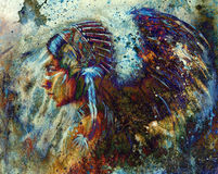Indian woman wearing  feather headdress and abstract color collage. Stock Image