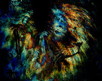 Indian woman wearing  feather headdress with Lion and abstract color collage. Stock Photo