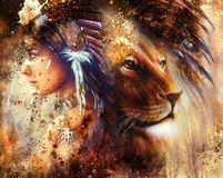 Indian woman wearing  feather headdress with lion and abstract color collage Royalty Free Stock Images