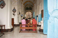 Indian women in catholic church Royalty Free Stock Photography