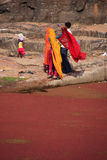 Indian women in colorful saris standing at the edge of red pond, Royalty Free Stock Photos