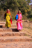 Indian women in colorful saris walking at Ranthambore Fort, Indi Royalty Free Stock Images