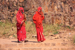 Indian women in colorful saris walking at Ranthambore Fort, Indi Royalty Free Stock Image