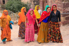 Indian women in colorful saris walking up the stairs at Ranthambore Fort, India royalty free stock photos
