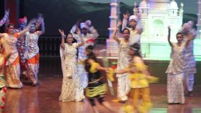 Indian women dancers are dancing the dance on stage. India. Agra stock footage