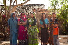Indian women facing camera village Royalty Free Stock Photos