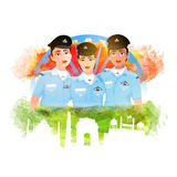 Indian Women Fighter Pilots for Republic Day celebration. Proud of India, Creative illustration of Three Indian Women Fighter Pilots with grunge National Flag Stock Image