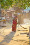 Indian women o fthe lowest caste scavenges the market place Royalty Free Stock Photography