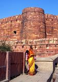 Indian women outside Agra Fort, India. Stock Photo