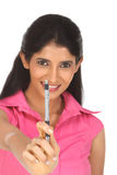 Indian woman with the pen Stock Photo