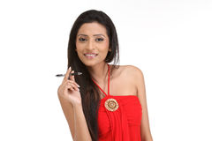 Indian women with  pen Stock Photos