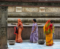 Indian women praying at the Mahabodhi Temple in Gaya, India.  Stock Image