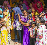 Indian women queue up for entrance to the annual Navrata Festival Stock Photography