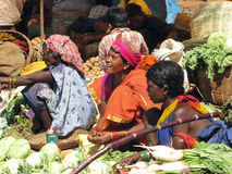 Indian women in the rural area market Stock Images