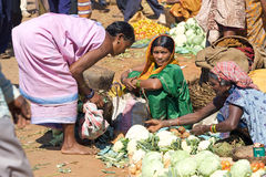 Indian women in the rural area market Stock Image