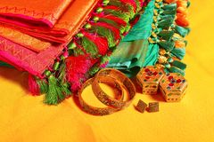 Indian women sarees with jewelry accessories, Maharashtra. India royalty free stock photo